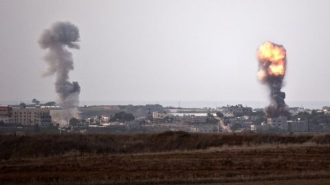 Explosions erupt from spots targeted by Israeli airstrikes inside Gaza on Friday, November 16.