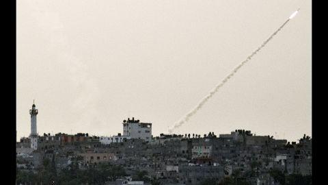 A rocket fired from Gaza toward Israel sails into the air Friday, November 16.