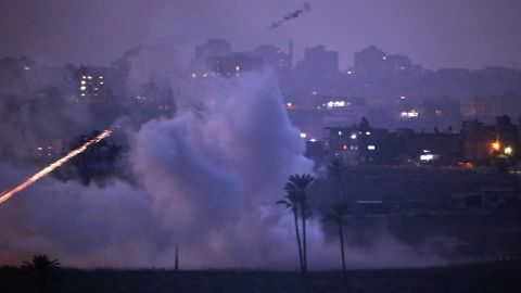 Israeli artillery shells hit a target in the Gaza Strip on Monday near Israel's border with the Gaza Strip.