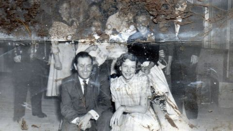This evocative black and white group photo was found among the debris after Superstorm Sandy hit Union Beach.