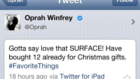 """In November 2012, Oprah Winfrey wanted to tell the world that Microsoft's new Surface tablet was one of her #FavoriteThings. """"Gotta say (I) love that SURFACE! Have bought 12 already for Christmas gifts,"""" <a href=""""http://www.cnn.com/2012/11/20/tech/social-media/oprah-surface-tweet/"""">gushed the media queen</a>. So what's the fail? She sent the tweet from her iPad."""