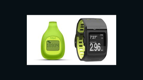 """Just in time for New Year's resolutions, these beefed-up pedometers track more than steps. The <a href=""""http://www.fitbit.com/zip"""" target=""""_blank"""" target=""""_blank"""">Fitbit Zip</a> (left, $60) tracks steps, calories and distance, and lets you compete against friends. The <a href=""""http://nikeplus.nike.com/plus/products/sport_watch/"""" target=""""_blank"""" target=""""_blank"""">Nike+ Sportwatch GPS</a> (right, $169) records your location, pace, calories and heart rate while keeping you motivated with gentle reminders."""