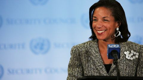 U.S. Ambassador to the United Nations Susan Rice addresses the media following a UN Security Council meeting on July 11, 2012 in New York City. At the meeting the UN and Arab League peace envoy for Syria, Kofi Annan, said via a video conference from Geneva that the UN Security Council is discussing what action it could take next to address the crisis. (Photo by Spencer Platt/Getty Images)