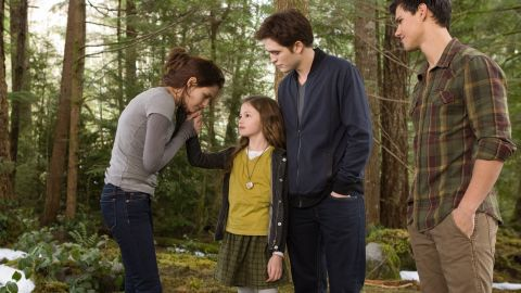 """Stephenie Meyer signed on as producer for the last two films of her """"Twilight"""" saga as well as the adaptation of her novel """"The Host."""" """"Twilight"""" was also the first franchise to spark Summit Entertainment's interest in adapting young adult novels for the screen. Another vampire adaptation, """"Cirque de Freak: The Vampire's Assistant,"""" didn't inspire the same viewership, although L.J. Smith's """"The Vampire Diaries"""" has found success on the small screen. From left, """"Twilight"""" stars Kristen Stewart, Mackenzie Foy, Robert Pattinson and Taylor Lautner."""