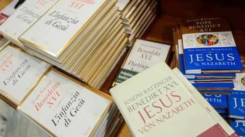 """Different editions of Pope Benedict XVI's new book """"Childhood of Jesus"""" are displayed during the presentation of the book to the press on November 20, 2012 at the Vatican. """"Childhood of Jesus"""" is the third volume of Joseph Ratzinger's 'Jesus of Nazareth' series. AFP PHOTO / ANDREAS SOLARO (Photo credit should read ANDREAS SOLARO/AFP/Getty Images)"""
