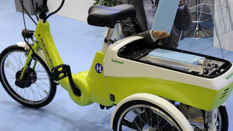 Other applications could include fuel-cell bicycles, seen here at an event in Japan in 2010, and even homes.