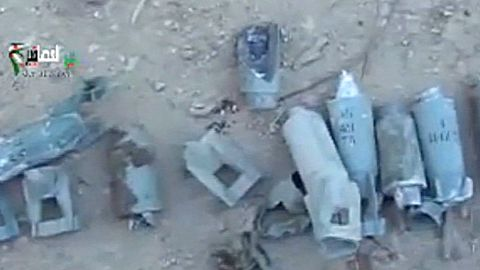 Still taken from amateur video from YouTube reportedly shows remains of cluster bombs in Deir Asafeer, Syria, on Deir Asafeer, Syria.