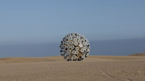 The Mine Kafon is a low-cost wind-powered mine detonator with the appearance of a giant, spiky-armed tumbleweed.