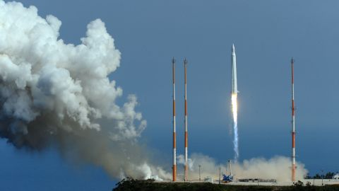 The Korea Space Launch Vehicle-1(KSLV-1) or Naro-1, South Korea's second space rocket blasts-off from launch pad at the Naro Space Center in Goheung on June 10, 2010. The scientific satellite had been expected to separate from the rocket at an altitude of 302 km and deploy its solar panels about nine minutes after blast-off. Contact was lost completely 137 seconds after blast-off when the rocket was at an altitude of 70 kilometres (43 miles), said Lee Joo-Jin, head of the Korea Aerospace Research Institute. REPUBLIC OF KOREA OUT AFP PHOTO / KOREA POOL (Photo credit should read KOREA POOL/AFP/Getty Images)
