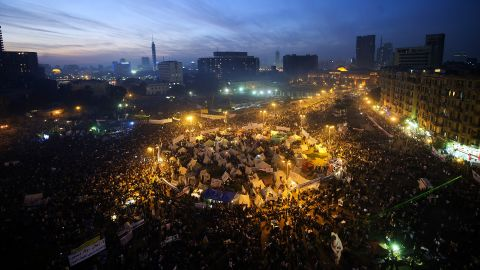 Egyptians protest in Cairo's Tahrir Square Friday against a decree by President Mohamed Morsi granting himself broad powers.