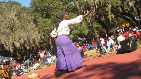 """Queen Quet, Chieftess of the Gullah/Geechee Nation presents """"Pun de Plantation"""" at the 30th Annual Heritage Days Celebration at Penn Center, Inc. on historic St. Helena Island, SC in the Gullah/Geechee Nation."""