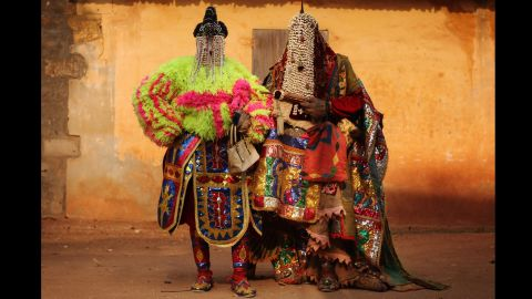 """<strong>January 10:</strong> """"Voodoo spirits"""" walk the streets in Ouidah, Benin, for the annual Voodoo festival. Ouidah is the Voodoo heartland in this West African nation and thought to be the spiritual birthplace of Voodoo."""