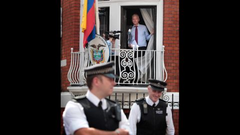 <strong>August 19:</strong> WikiLeaks founder Julian Assange is seen on the balcony of Ecuador's embassy in London. Facing extradition to Sweden because of allegations of sexual assault, Assange was granted political asylum by Ecuador.