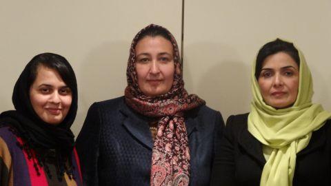 Sajia Behgam Amin, from left, Massouda Jalal and Suraya Paksad