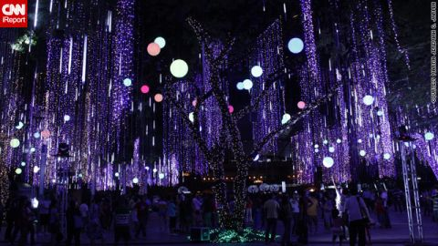"""Christmas celebrations in the Philippines are the longest -- and most lavish -- in the world. These <a href=""""http://ireport.cnn.com/docs/DOC-887973"""">beautifully lit trees </a>in Makati City, Philippines were captured by iReporter Martin Javin."""