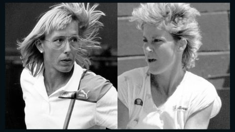 """Martina Navratilova, left, and Chris Evert had one of the biggest rivalries in women's tennis. """"They ended up as good buddies, but that was when the battling had been done,"""" Tu says. """"All of the respect and friendship you get in sport comes through competence first -- ' I know how hard it is to be this good, so I respect them for that.' """""""