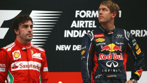 """Fernando Alonso, left, has now twice been beaten to the F1 championship by Sebastian Vettel -- who is widely rumored to be his teammate at Ferrari come 2014. """"When you get two No. 1 drivers together with no team rules, then the sparks can really fly,"""" Tu says. """"It's rare for them to be good mates. They may get along, they may trust and respect each other in a professional capacity, but hanging out is a different issue."""""""