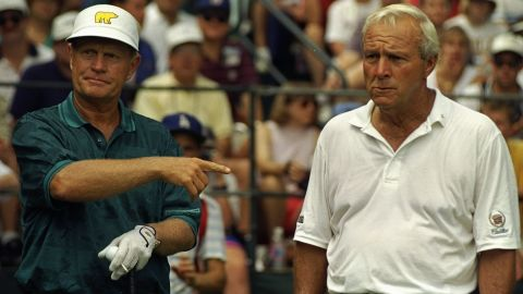 """They are following in golf's great tradition of rivalries -- most notably Jack Nicklaus, left, and Arnold Palmer. """"The power of the mind and the capability of that mental discipline is what separates the good from the great,"""" sports leadership expert Khoi Tu told CNN. """"That might allow them to become friends with people off the course, but not on the course."""""""
