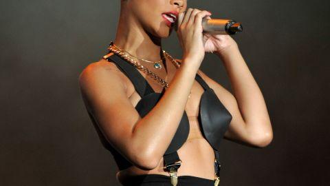 Sporting new red locks, the singer performs during a June 2010 festival in Arganda del Rey, Spain.