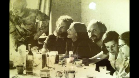 Connie Smukler, center, meets with prominent refuseniks in a Moscow flat in 1975. Natan Sharansky is standing.