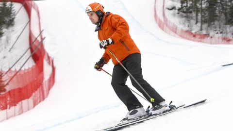 Austrian Mathias Lanzinger returns to the scene of his horror crash in a World Cup downhill in Kvitfjell in Norway in 2008 which saw him lose his left leg below the knee.