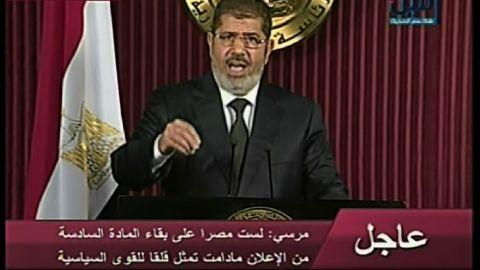 Egyptian president Mohammed Morsy addresses the nation via television on Thursday, December 6.
