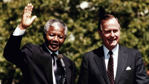 After his release in 1990, Mandela embarked on a world tour, meeting U.S. President George H.W. Bush at the White House in June.