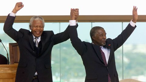 After one term as president, Mandela stepped down. Thabo Mvuyelwa Mbeki, at right, was sworn in as his replacement in June 1999.