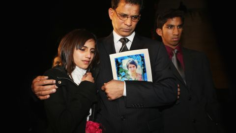 The family of Jacintha Saldanha -- daughter Lisha, husband, Ben Barboza, and son Junal -- in London on Monday.