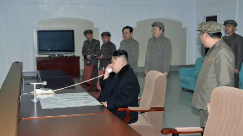 Kim Jong Un monitors the rocket launch from a room at North Korea's satellite control center in Cholsan County.