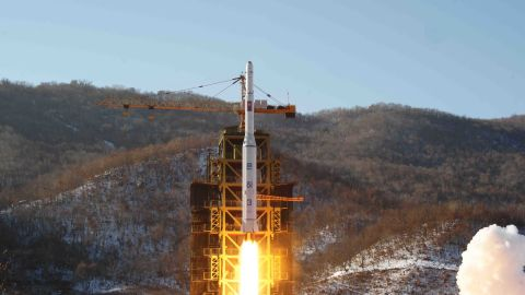"""The Unha-3 rocket carrying """"the second version of satellite Kwangmyongsong-3"""" lifts off Wednesday morning from the Sohae Space Center in North Korea's western Cholsan County."""