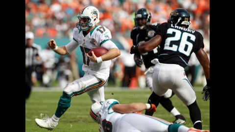 Though Ryan Tannehill (#17) has shown promise in his five seasons in the league, he suffered a season-ending knee injury in the pre-season. A former part-time receiver in college at Texas A&M, Tannehill has been one of the speediest quarterbacks in the league -- a quality which will be tested after knee surgery. In a 44-26 win against Houston in 2015, Tannehill became the 64th quarterback in NFL history to record a perfect passer rating, throwing four TDs, with 18 completions in 19 attempts.