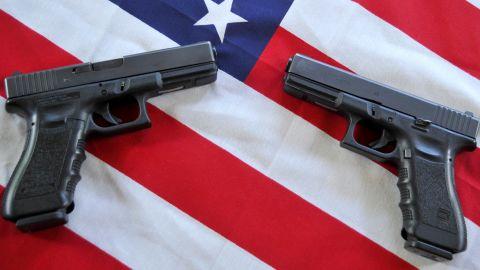 Two Glock .40 caliber semiautomatic handguns are displayed in Woodbury, Minnesota on May 28, 2011.