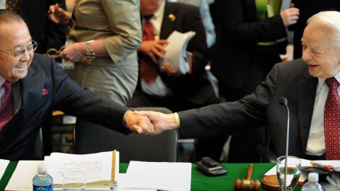 Senate giants: Sen. Robert Byrd, right, of West Virginia shakes hands with Inouye on May 15, 2008. Byrd was the longest-serving senator in the chamber's history.