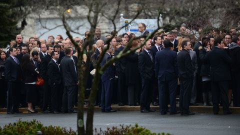 People arrive for the funeral of Jessica Rekos, 6, at St. Rose of Lima Roman Catholic Church in Newtown on December 18.