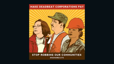 """A partial view of """"Make Deadbeat Corporations Pay. Stop Robbing Our Communities,"""" by Melanie Cervantes"""