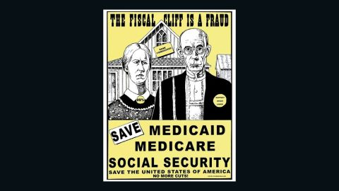 """A cropped version of """"Save Medicare, Medicaid, Social Security,"""" by Xavier Viramontes"""