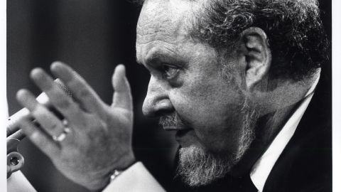 """Bork testifies before the Senate Judiciary Commitee during his confirmation hearings as a Supreme Court nominee in September 1987. He was known as a staunch advocate for """"originalism,"""" a principle that defends the original intent of the Constitution."""