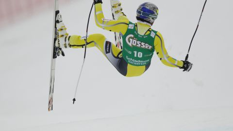 Even the best can take a tumble. World and Olympic champion Aksel Lund Svindval goes airborne during training for a World Cup race at Schladming in Austria.
