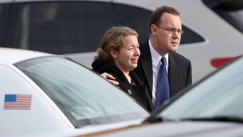 Family and friends depart Jessica's funeral on December 18 in Newtown.