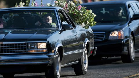 A procession arrives for the funeral of Victoria Soto, 27, at Lordship Community Church in Stratford, Connecticut, on December 19. Soto was a first-grade teacher being hailed as a hero for protecting the children in her class during last week's school massacre in Newtown.