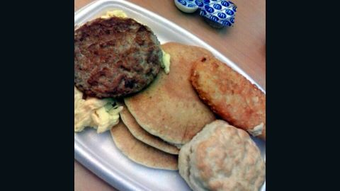 <strong>McDonald's Big Breakfast with Hotcakes:</strong> Big is right. You get scrambled eggs, sausage, hash browns and a small stack of pancakes. Order it with a large-size biscuit and you'll be starting the day with 2,260 milligrams of sodium and 1,150 calories.