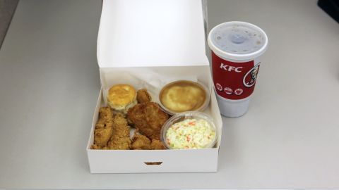 <strong>KFC's Variety Big Box Meal:</strong> KFC provides nutritional information for individual items. We figure this meal -- a drumstick, a Crispy Strip, an individual box of Popcorn Chicken, two Homestyle sides (we chose mashed potatoes with gravy and cole slaw), a biscuit and a 32-oz. drink (Pepsi) -- blasts the daily sodium maximum, with more than 3,000 milligrams of salt and more than 1,400 calories.