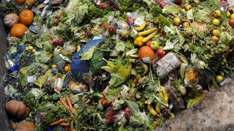 A photo taken on October 23, 2012 in Morsbach, western France, shows waste food products stocked at the Methavalor factory to produce methane before conversion into a biogas fuel for the GNVert company, a subsidiary of French energy GDF Suez group.