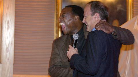 Walton at a farewell party for CNN anchor Leon Harris in 2003.