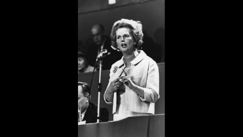 Thatcher addresses a Conservative Party conference in October 1967.