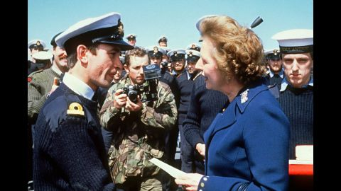 Thatcher meets personnel aboard the HMS Antrim during her trip to the Falkand Islands in January 1983. The United Kingdom fought a short war with Argentina over the Falklands in 1982, responding with force when Buenos Aires laid claim to the islands.