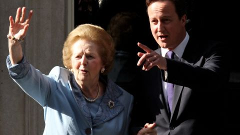 """<a href=""""http://www.cnn.com/2013/04/08/world/europe/uk-margaret-thatcher-dead/"""">Margaret Thatcher</a>, the first woman to become British prime minister, has died at 87 after a stroke, a spokeswoman said Monday, April 8. <a href=""""http://www.cnn.com/2013/04/08/world/europe/margaret-thatcher-icon-outcast/"""">Known as the """"Iron Lady,""""</a> Thatcher, as Conservative Party leader, was prime minister from 1979 to 1990. Here she visits British Prime Minister David Cameron at 10 Downing Street in London in June 2010."""