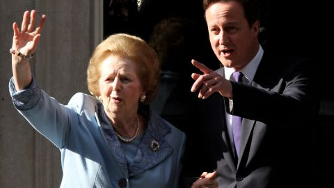 """Margaret Thatcher, the first woman to become British prime minister, has died at 87 after a stroke, a spokeswoman said Monday, April 8. Known as the """"Iron Lady,"""" Thatcher, as Conservative Party leader, was prime minister from 1979 to 1990. Here she visits British Prime Minister David Cameron at 10 Downing Street in London in June 2010."""