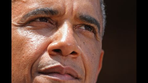 """During a campaign """"ice cream social"""" in Sandusky, Ohio, on July 5, Obama delivers remarks."""